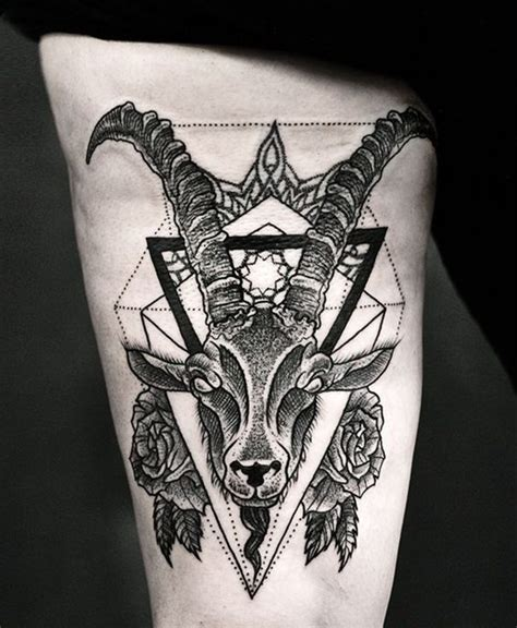 geometric goat tattoo zodiac sign tattoos capricorn tattoos best tattoos 2017