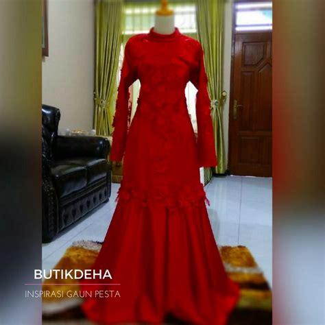 Gamis Pesta Nikah gaun merah butik jahit pesan jual baju gaun