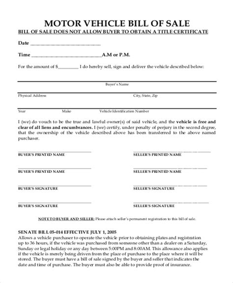 motor vehicle bill of sale template sle bill of sale form for vehicle 8 free documents