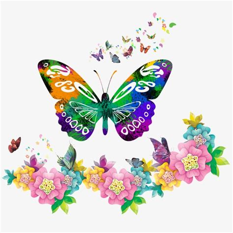 colorful butterfly colorful butterfly butterfly flowers border png and psd