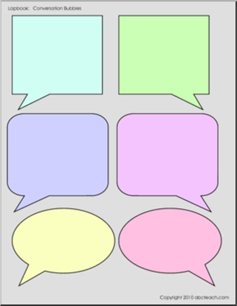 conversation card templates lapbook template conversation bubbles 6 color abcteach