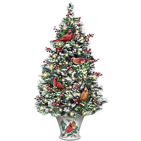 winter s beautiful blessings led lighted tabletop tree with cardinals misfittoys net