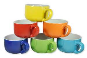 colored cups 6 large sized 14 ounce colored ceramic coffee soup mugs