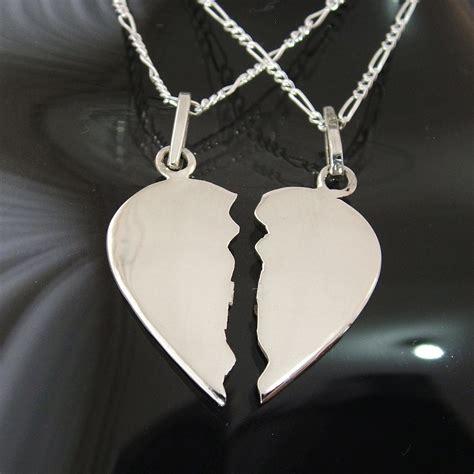 imagenes de corazones con iniciales corazon partido mediano en plata ley 0 925 con dos cadenas