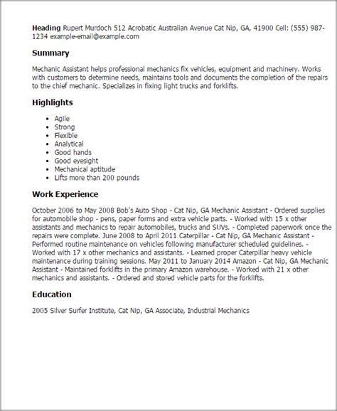 mechanic assistant resume template best design tips