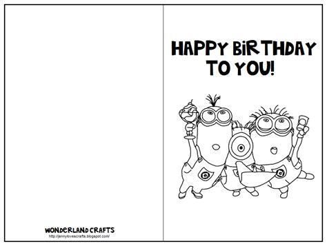 Print Out Birthday Card Wonderland Crafts Birthday Cards