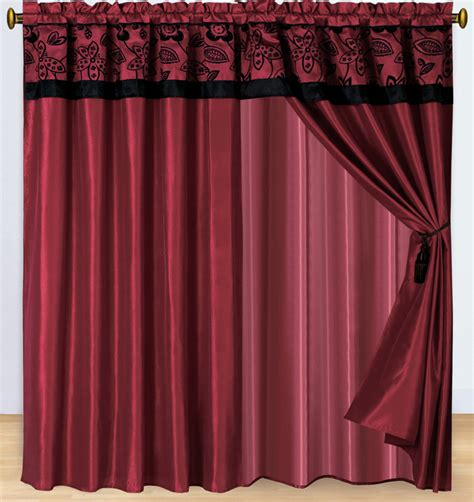 burgundy and black curtains floral burgundy and black curtain set ebay