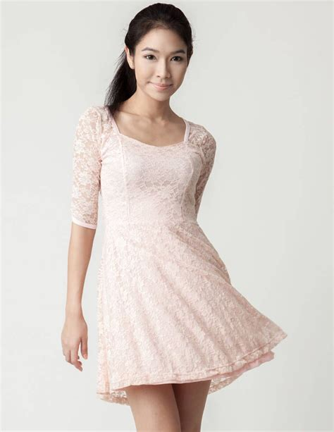 light pink dress with sleeves light pink lace 3 4 sleeve skater dress partydress