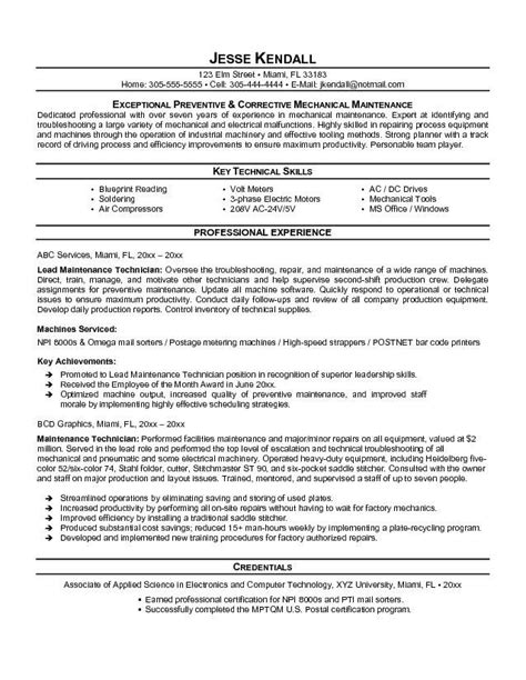 mechanical maintenance engineer resume format maintenance resume template free http topresume info