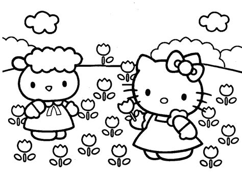 coloring pages of hello kitty and friends coloring home