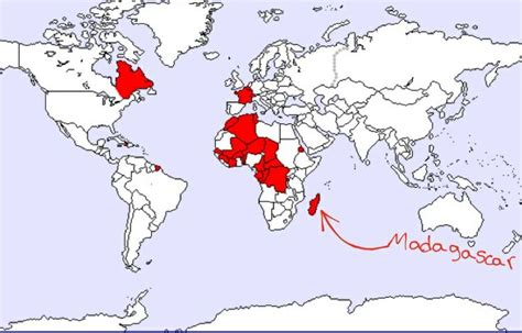 this is a map that shows the speaking countries in - Is Madagascar A Speaking Country