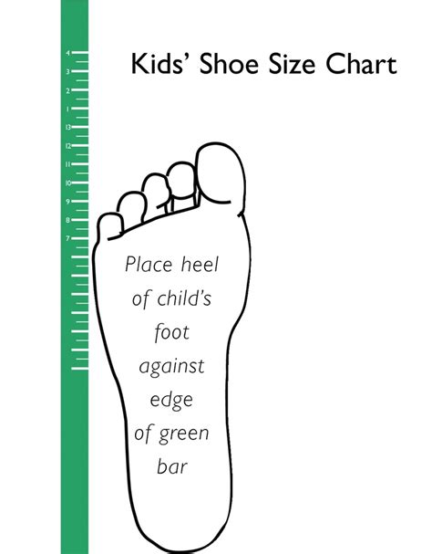printable kids shoe size chart scope of work template