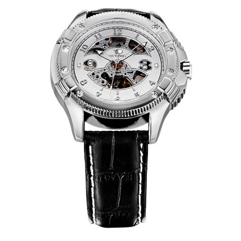 Hemat Ouyawei Skeleton Leather Automatic Mechanical Oyw1 ouyawei skeleton leather automatic mechanical oyw1227 white silver