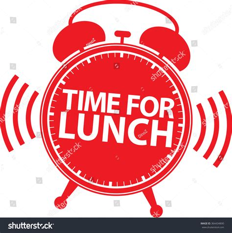 Modern Coo Coo Clock by Time For Lunch Red Alarm Clock Icon Vector Illustration