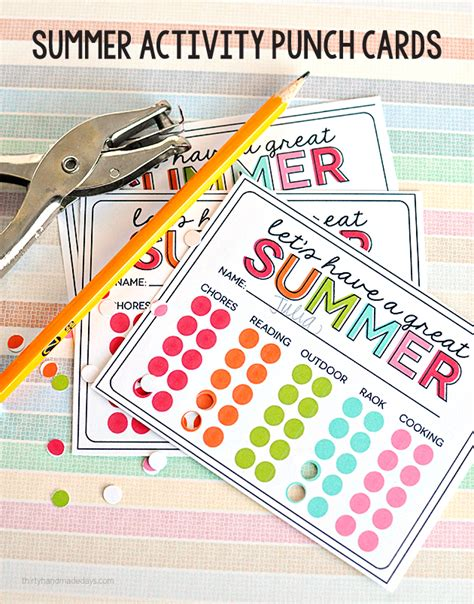 Template For 30 Day Punch Card by Summer List Printables Freebies The Mombot