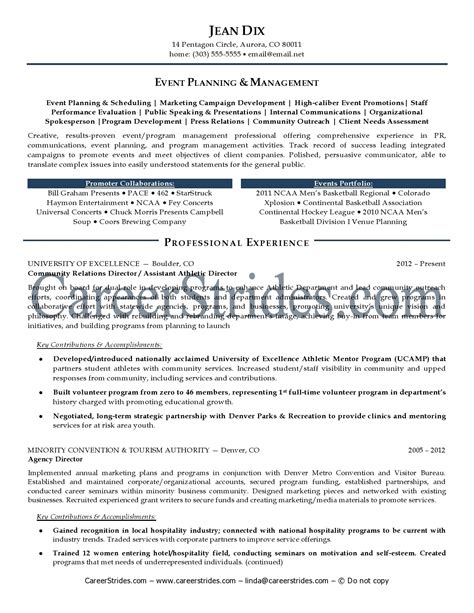 Sle Resume For Creative Manager Creative Event Planner Resume Sle 28 Images Creative Event Planner Resume Sle Recentresumes