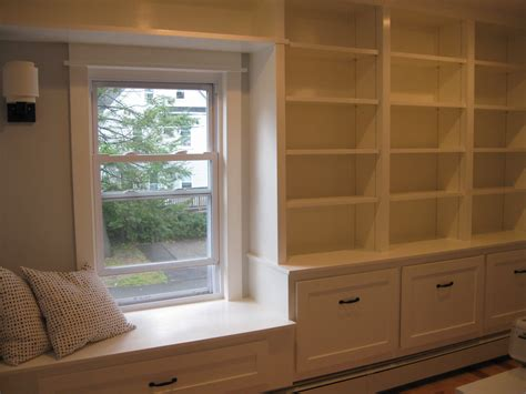 window bookshelves custom bookcase and window seat built in casper and company