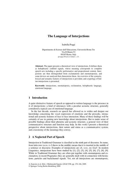 (PDF) The Language of Interjections