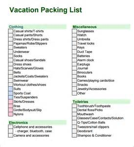 Holiday Packing List Template Pics Photos Vacation List Template