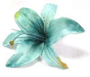 turquoise flowers turquoise blue tiger flower hair clip