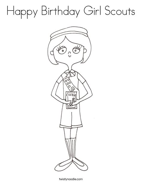 coloring page birthday girl happy birthday girl scouts coloring page twisty noodle