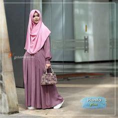 Baju Muslim Syari Hanifa Gamis Atthiyyah Adiba Dress Dusty Blue Baju Gamis Wanita