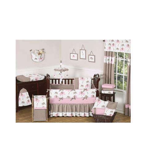 elephant crib bedding sweet jojo designs pink mod elephant 9 piece crib bedding