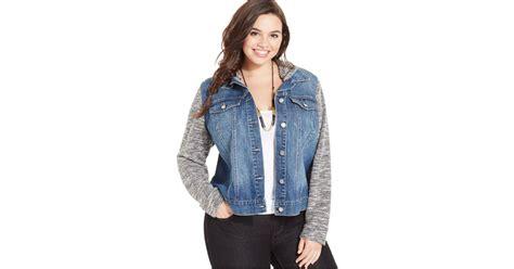 plus size knit jacket plus size knit contrast denim jacket in