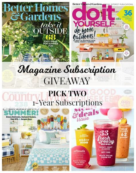 Bhg Giveaways - june giveaway choice of 2 magazine subscriptions knick of time