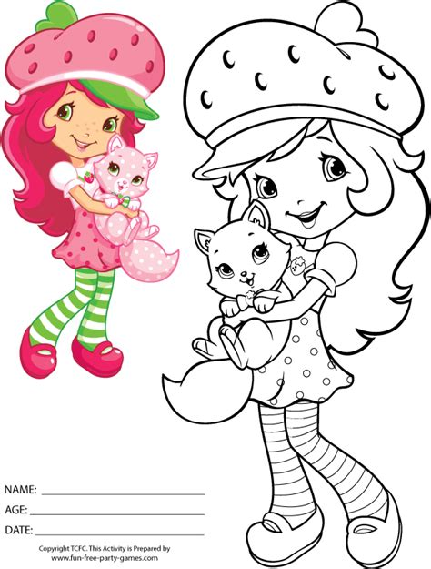 strawberry shortcake coloring pages games coloring activity strawberry shortcake holding custard the