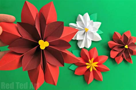 Paper Poinsettias Made From Recycled Cards Template by Poinsettia Paper Flower Diy Ted S