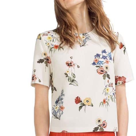 Womens Sweet White O Neck Print Blouse Murah sweet floral print shirts o neck sleeve blouse european style summer