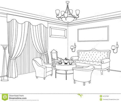 interior outline sketch furniture architectural design