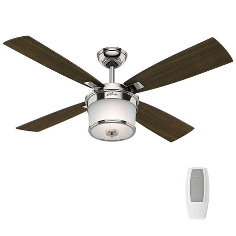 hunter ceiling fans home depot hunter kimball 52 in led indoor polished nickel ceiling