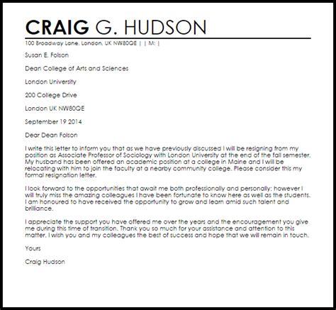 faculty resignation letter resignation letters livecareer