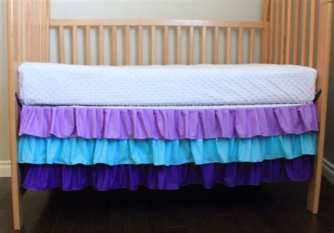 Crib Ruffle Skirt by Three Tier Ruffle Crib Skirt Purple And Aqua