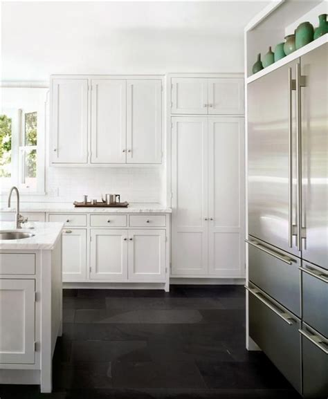 White Black Kitchen Black Slate Floor In Brushed Finish Kitchens With White Cabinets And Floors