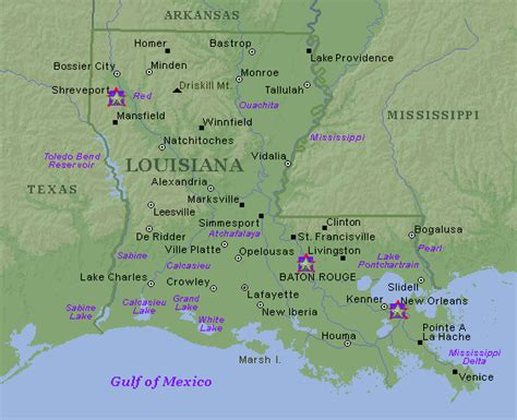 louisiana map cities towns louisiana