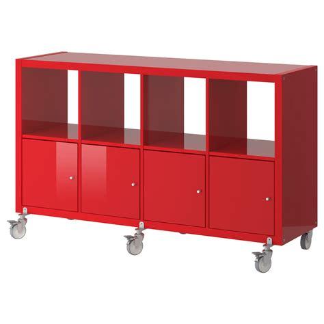 Ikea Kallax Rollen by Kallax Regal Mit 4 T 252 Ren Und Rollen Hochglanz Rot Ikea