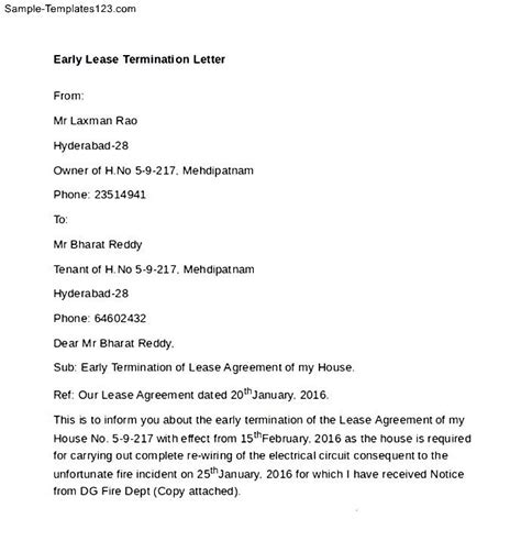 Release Letter From Landlord Early Lease Termination Letter To Landlord Template Sle Landlord Lease Termination Letter 4