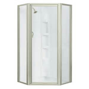 shop sterling framed brushed nickel shower door at lowes