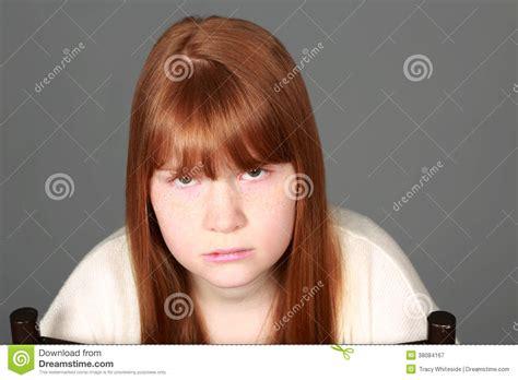tween freckles sad tween redhead girl with freckles royalty free stock