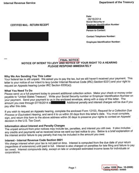 Letter Of Intent Audiology Letter 1058 Notice Intent To Levy