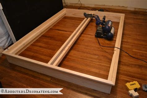 Wooden Bed Frame Parts Diy Stained Wood Raised Platform Bed Frame Part 1 Ahhh Peace At Home Pinterest Bed