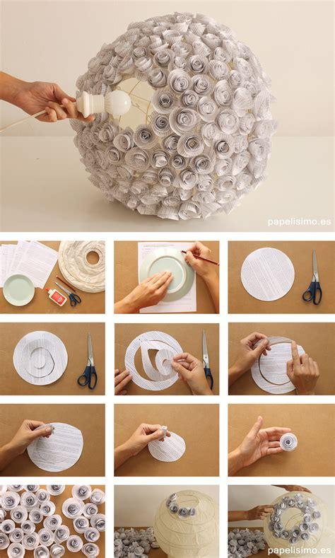 lampara de flores de papel recicladas