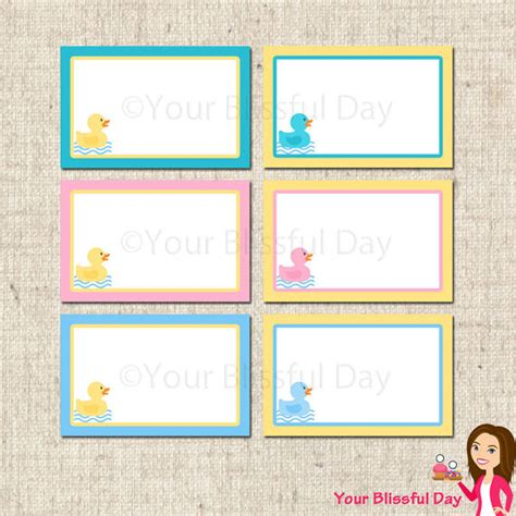 printable label templates for baby shower printable rubber duckie baby shower label tents by
