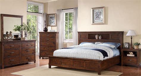 Rustic Bedroom Set With Storage Restoration Rustic Walnut Platform Storage Bedroom Set