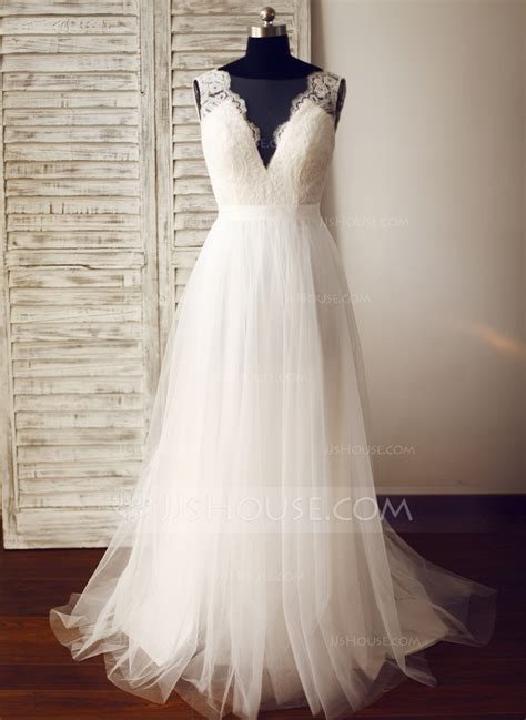 Wedding Dress by A Line Princess V Neck Sweep Tulle Wedding Dress