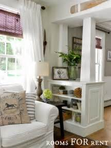 Half Wall Room Divider White Columns With Built In Shelves Great To Divide Up A Room Tear The Drywall