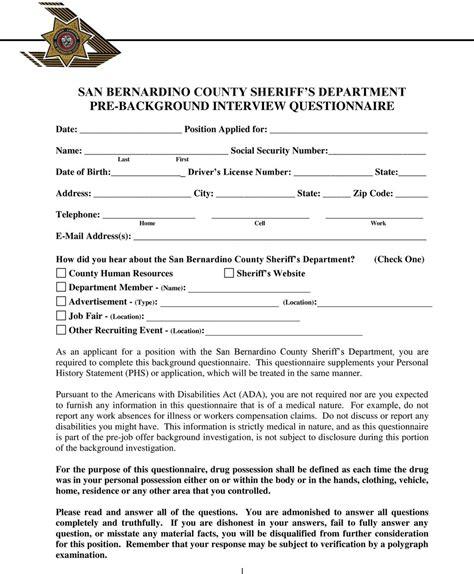 San Bernardino County Background Check San Bernardino County Sheriff S Department Pre Background Questionnaire Pdf